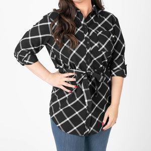 Flannel Tunic Windowpane - Black/Ivory